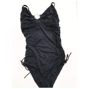 Michael Kors Black ruched one piece swimsuit 8